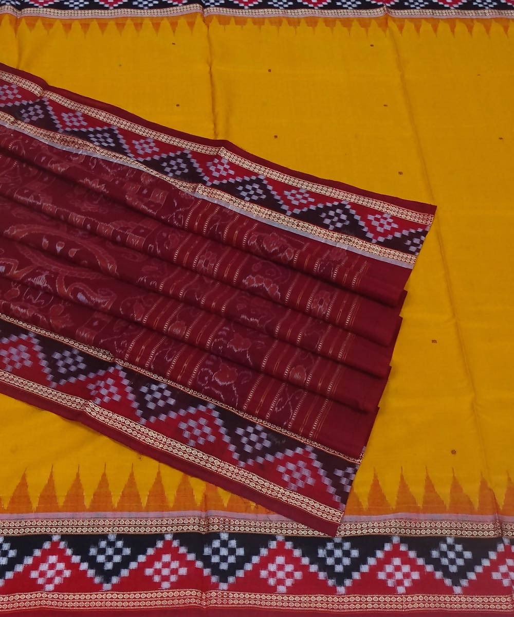 Bomkai handwoven yellow maroon cotton saree