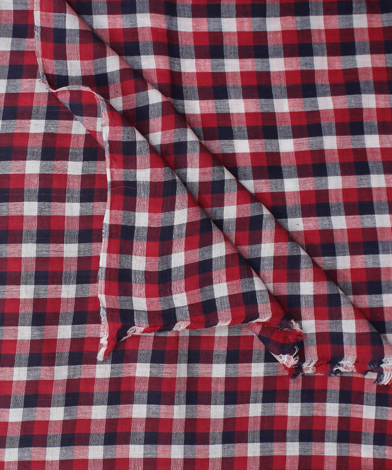 Handloom Red White Blue Checks Cotton Fabric