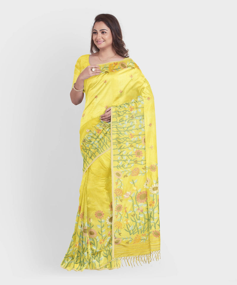 Biswa bangla handwoven yellow bangalore silk jamdani saree