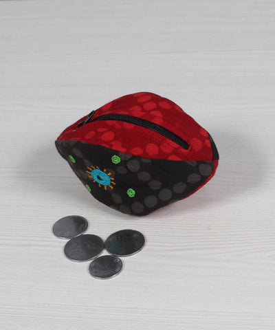 Grey Red Lambani Embroidery Coin Pouch