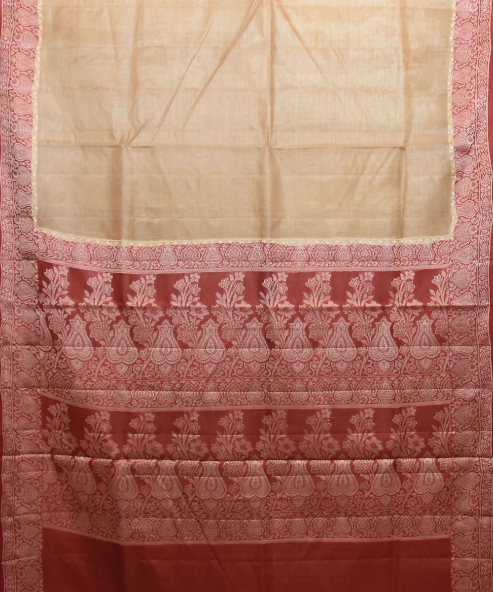 Cream Banarasi Handloom Silk Saree