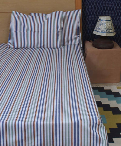 Multi Colour Stripe Handloom Single Bed Sheet