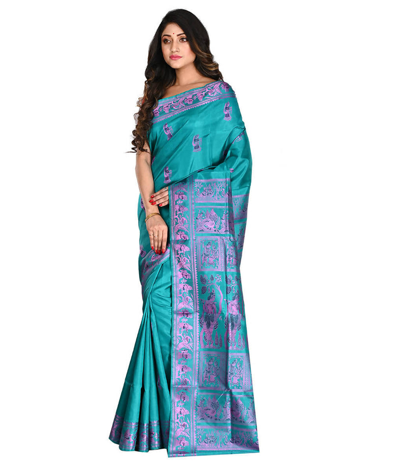Bengal Handloom Baluchari Silk Blue Saree