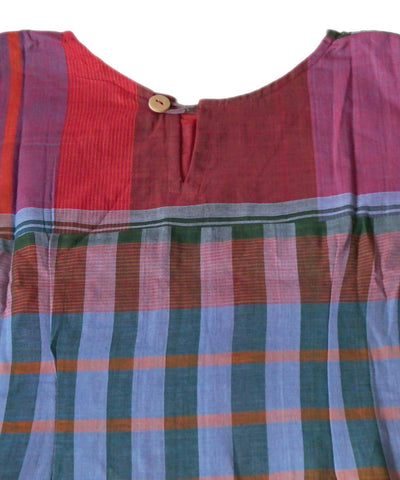 Red Blue Handloom Gamcha Checks Cotton Crop Top Blouse