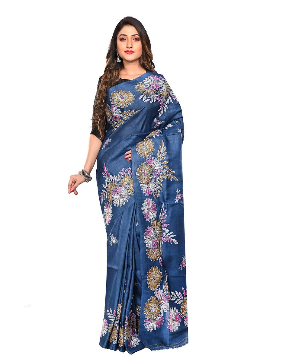 Tussar Navy Blue Handloom Kantha Stitch Saree