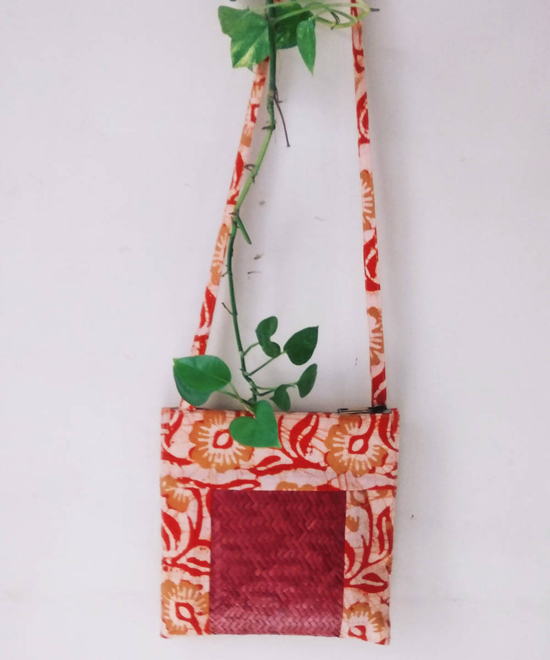 Beige Rust Handwoven Sitalpati and cotton fabric Sling Boho Bag