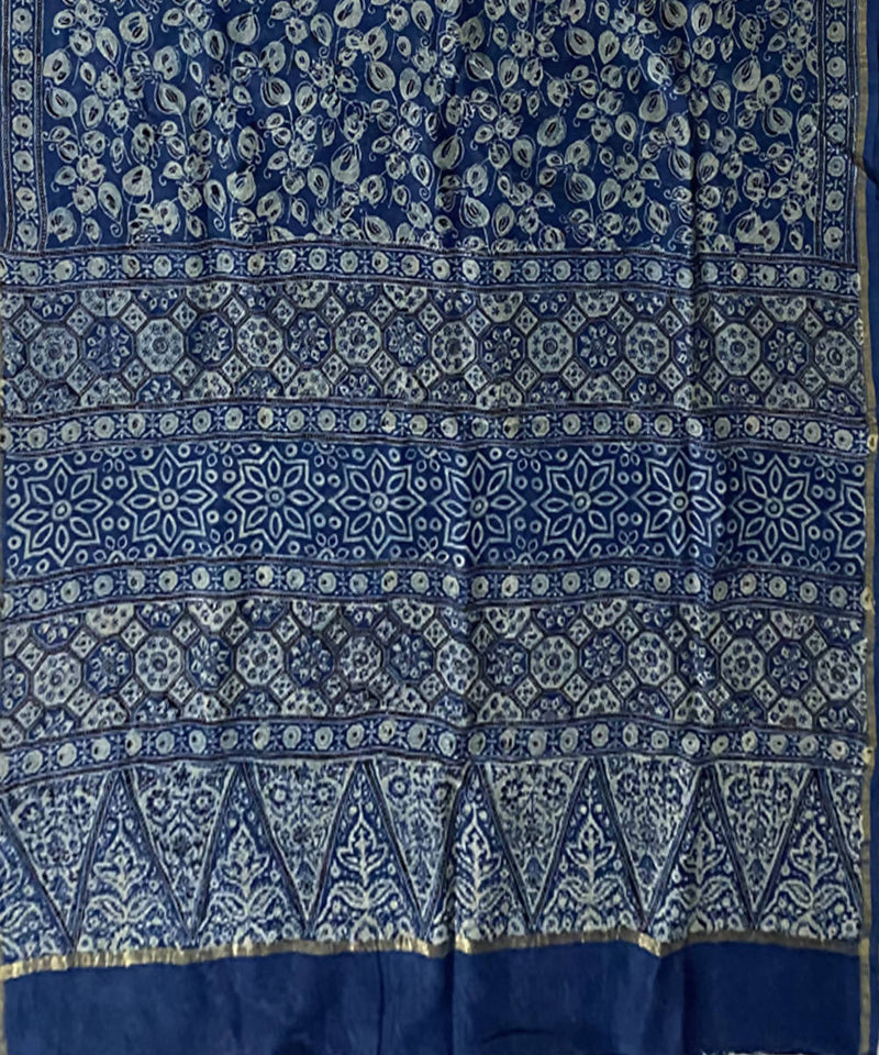 Indigo handblock print chanderi cotton saree
