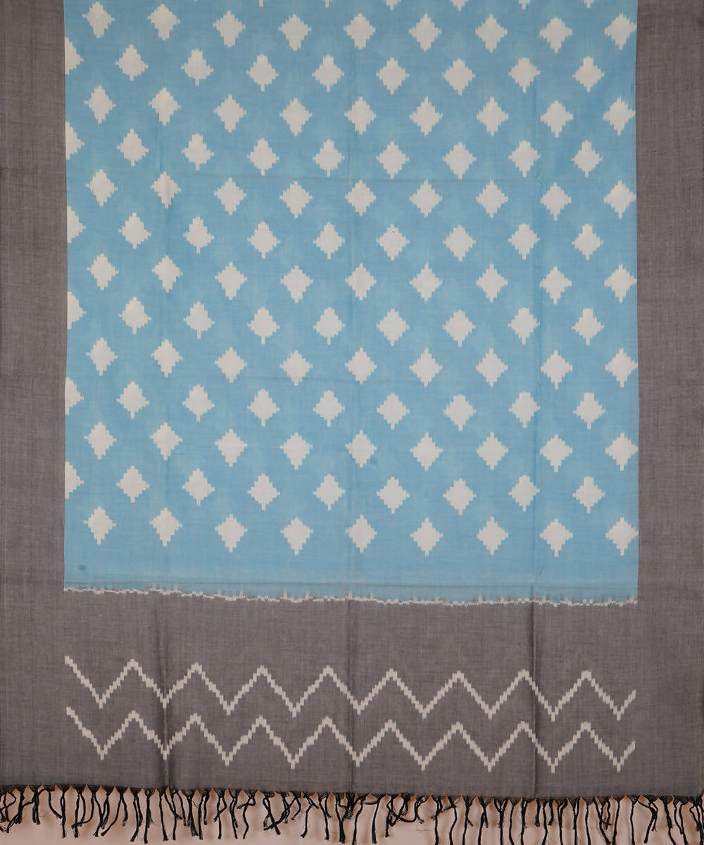 Light Blue Handwoven Pochampally ikat cotton Dupatta