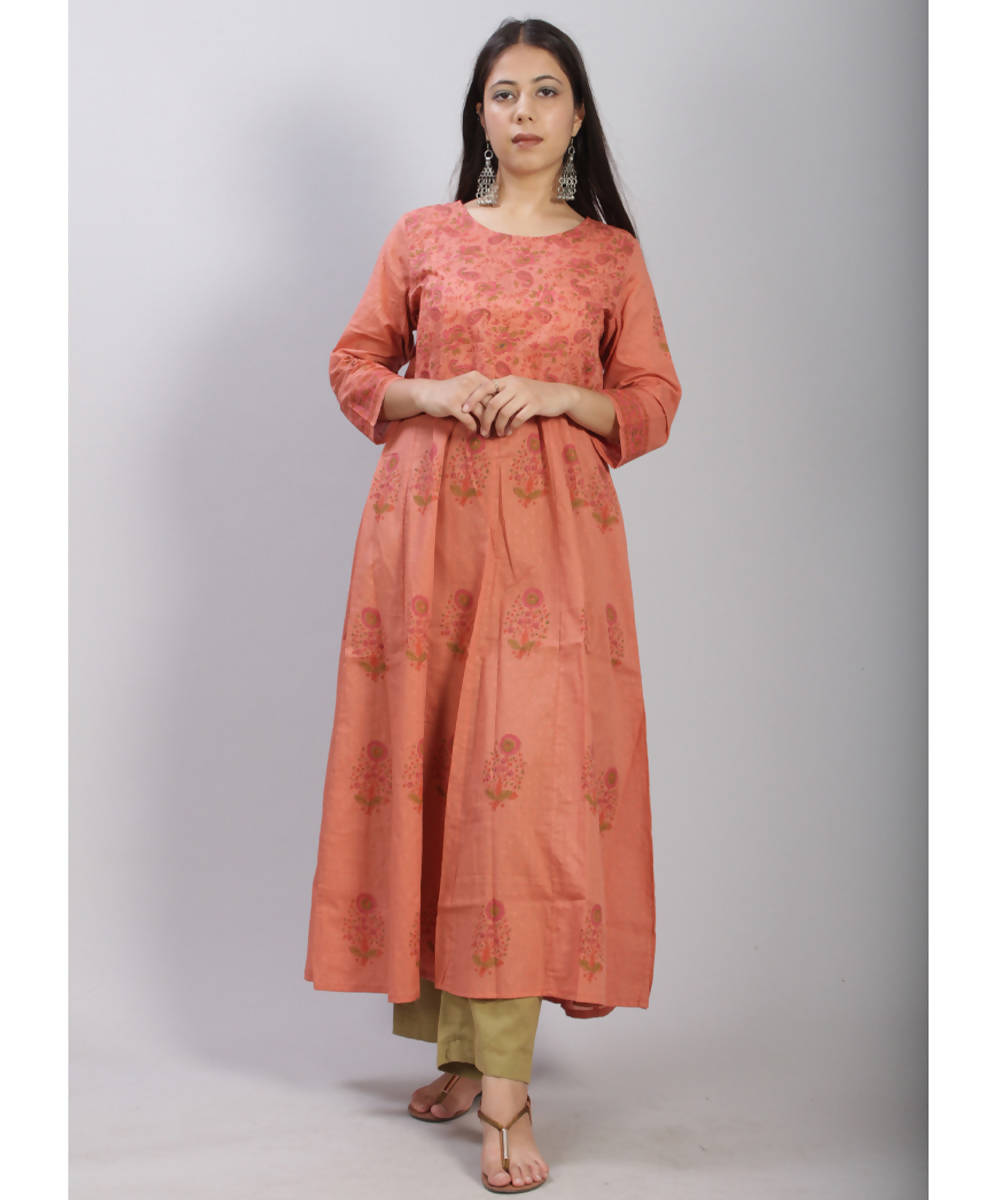 Rust hand block printed anarkali cotton kurti