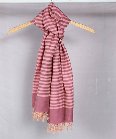 Peach with Mauve Striped Handwoven Cotton Stole