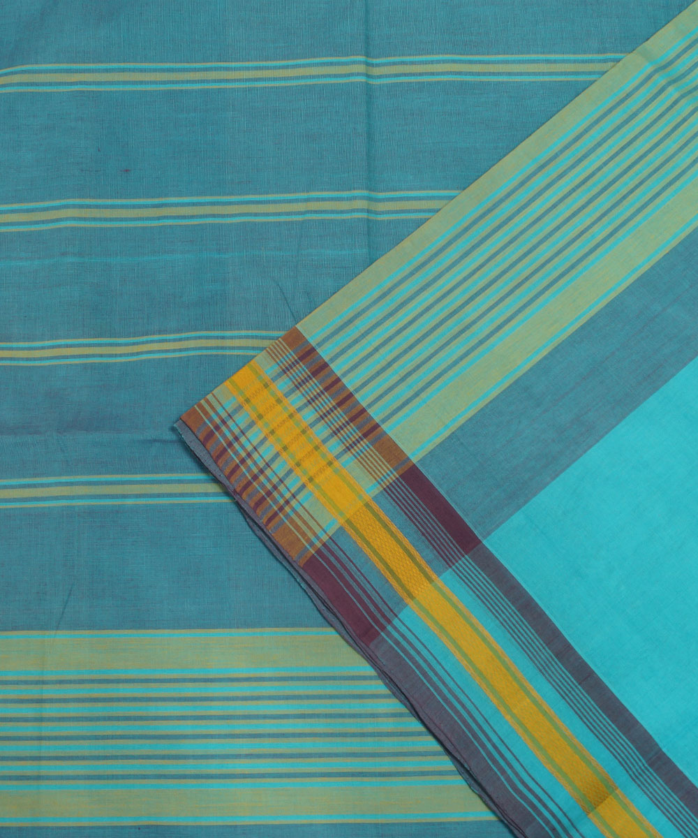 Loomworld Grey and Blue Handwoven Organic Cotton Saree