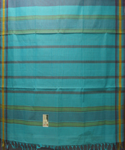 Loomworld Blue Handwoven Organic Cotton Saree