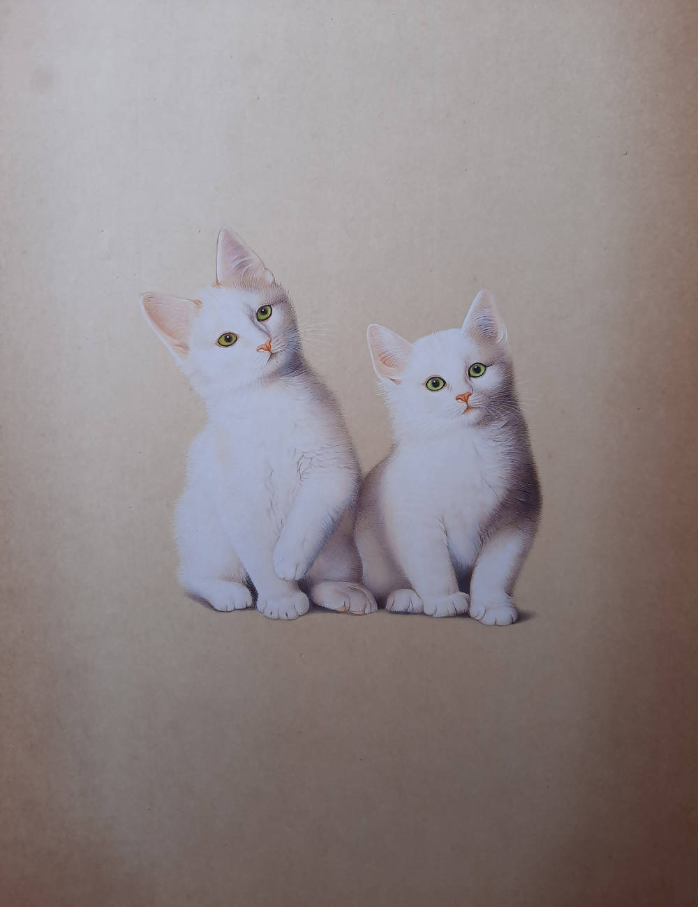 Handmade cat miniature painting on handmade paper