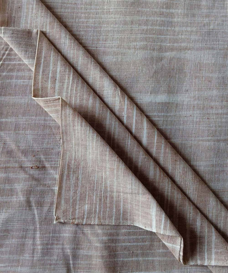 chocolate brown white handspun handwoven cotton fabric (10m per quantity)