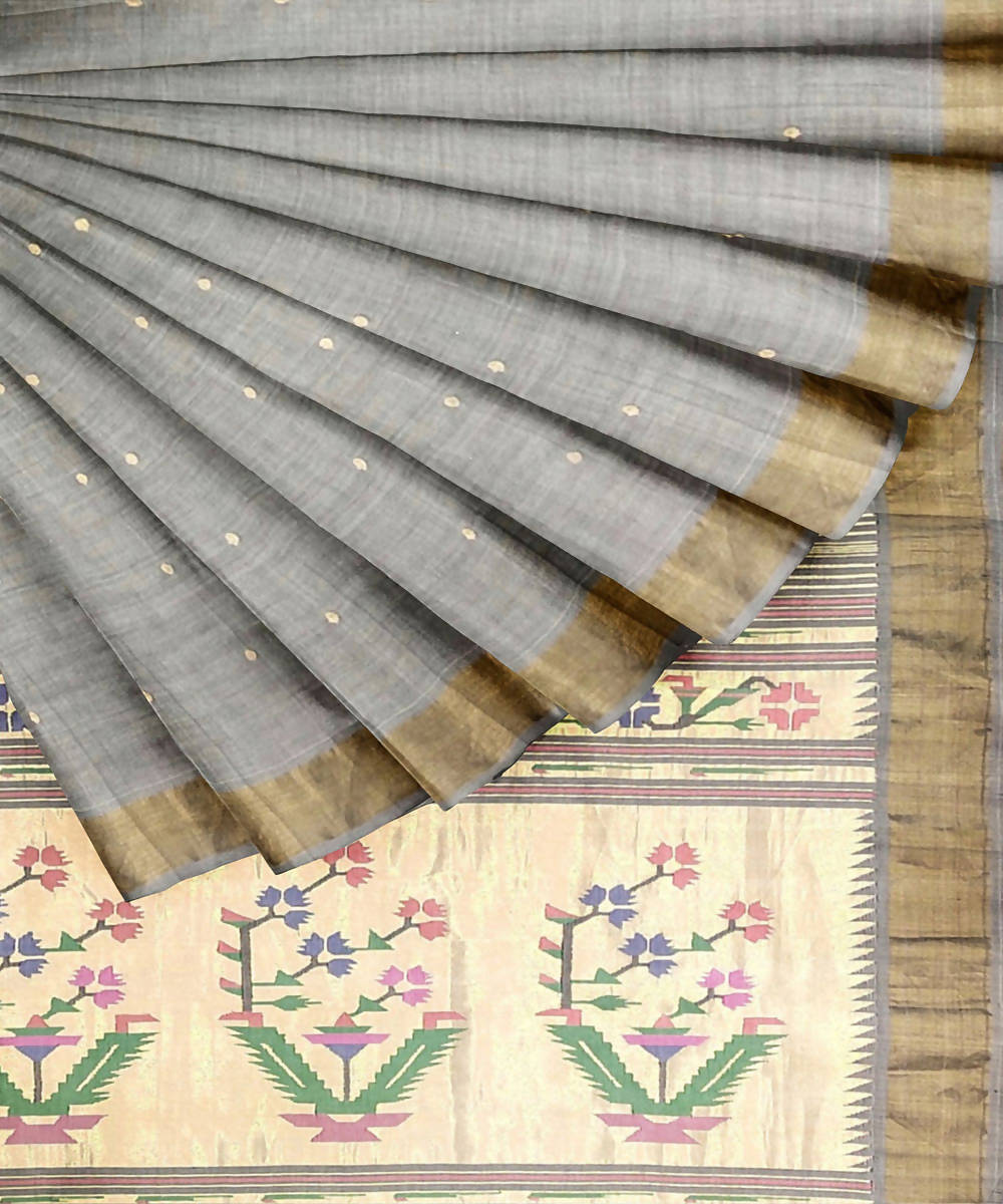 Light Grey Handwoven Paithani Cotton Saree