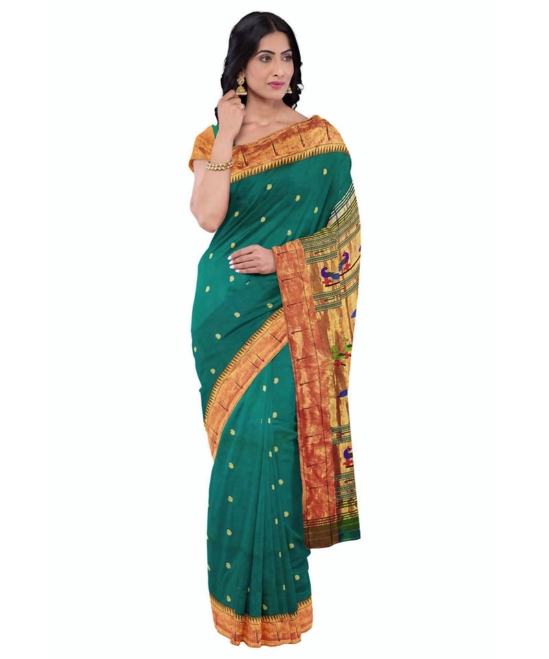 Peacock green handloom paithani silk saree