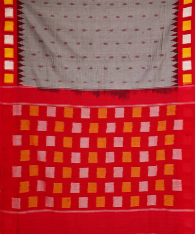 Grey Red Handloom Ikkat Cotton Saree