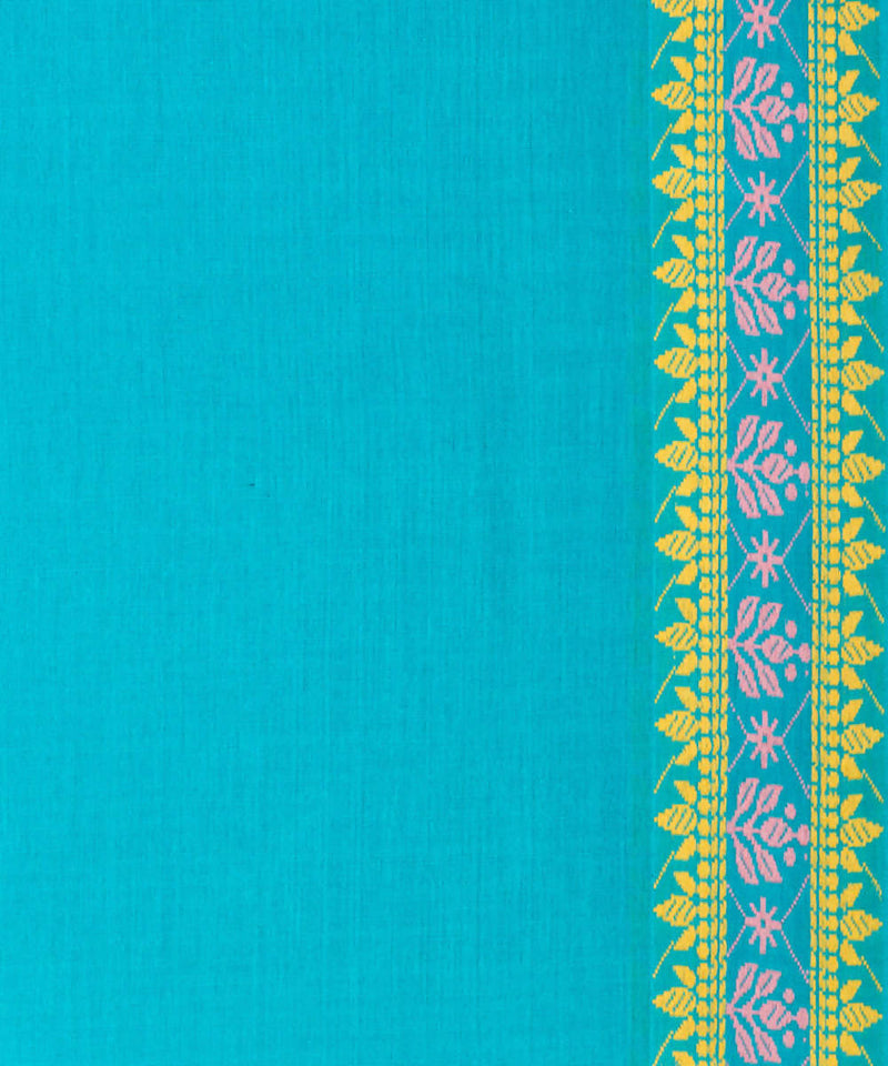 Biswa bangla handwoven blue tangail mercerised cotton saree