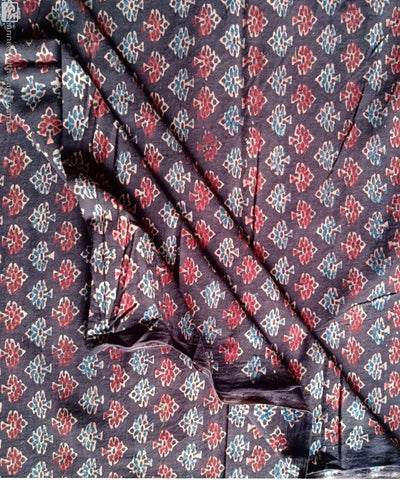 handspun coffee ajrakh block print organic cotton kurta fabric