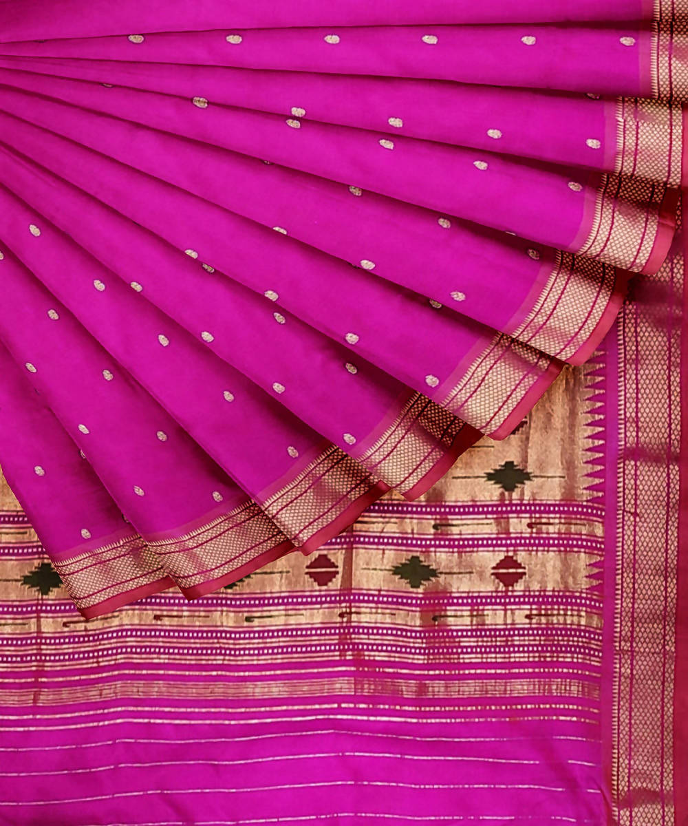 Purple pink handwoven paithani silk saree