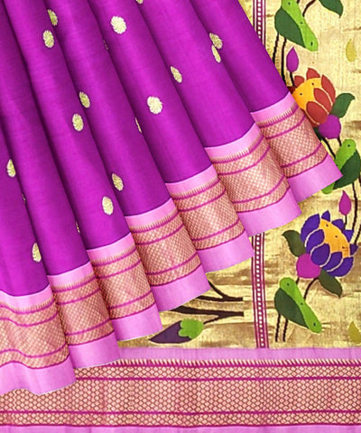 Purple Pink Handloom Paithani Silk Saree
