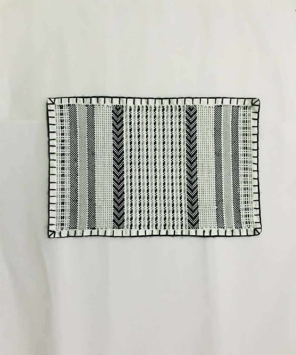Black and grey Hand Embroidery taat wool Table Mat (Set of 6)