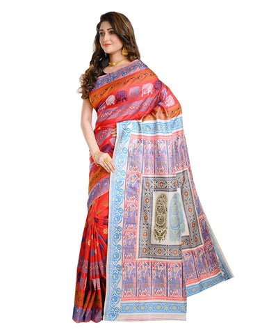 Red and blue handwoven baluchari mulberry silk saree