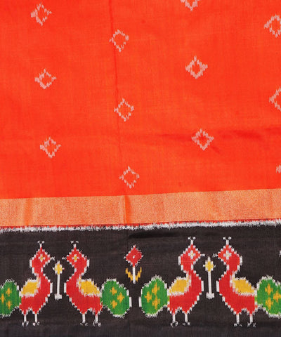 Orange Black Handloom Pochampally Silk Saree