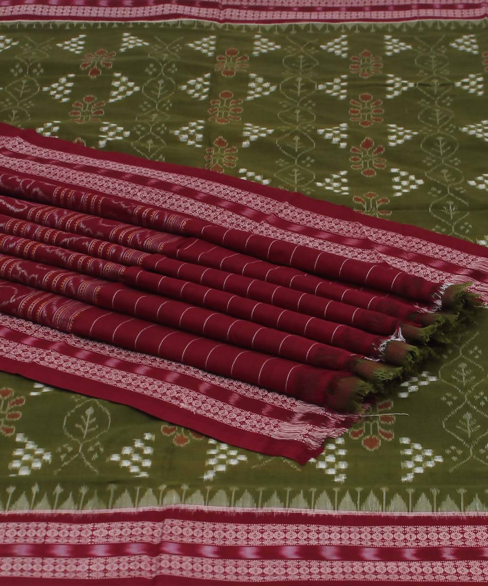 Green Maroon Pasapalli Handloom Cotton Saree