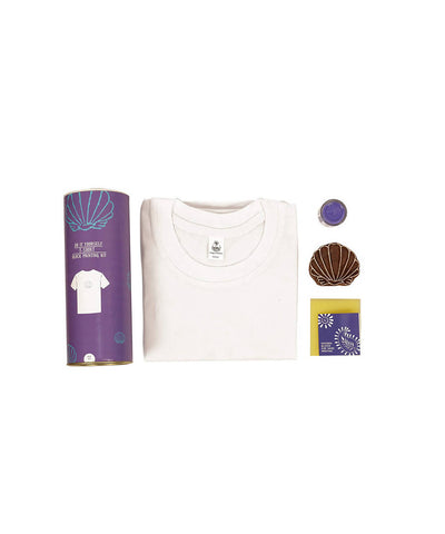 Handmade Wooden Block with Violet Shell Print DIY T-Shirt Craft Kit