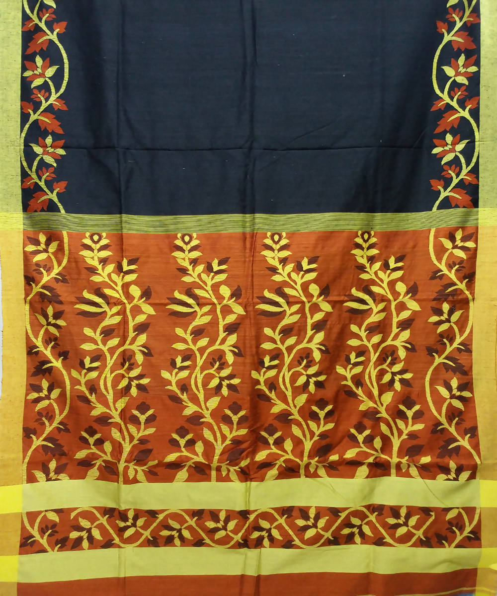 Black and Rust Handloom Matka Silk Jamdani Bengal Saree