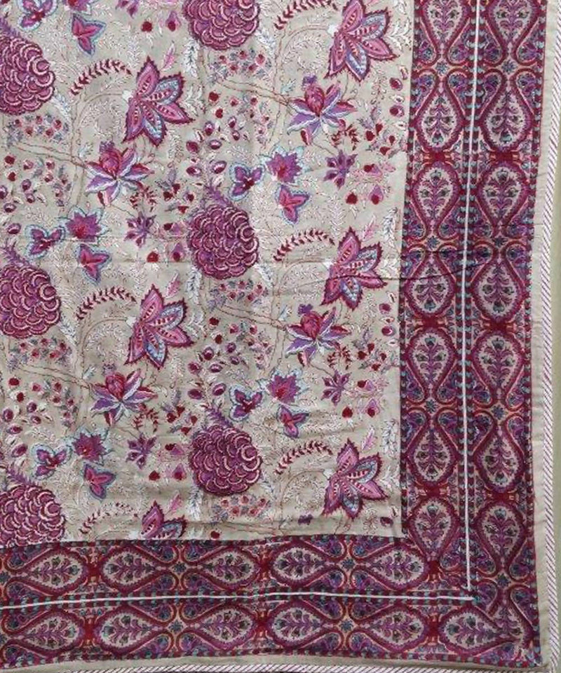 Red Pink Floral Handblock Printed White Cotton Double Dohar