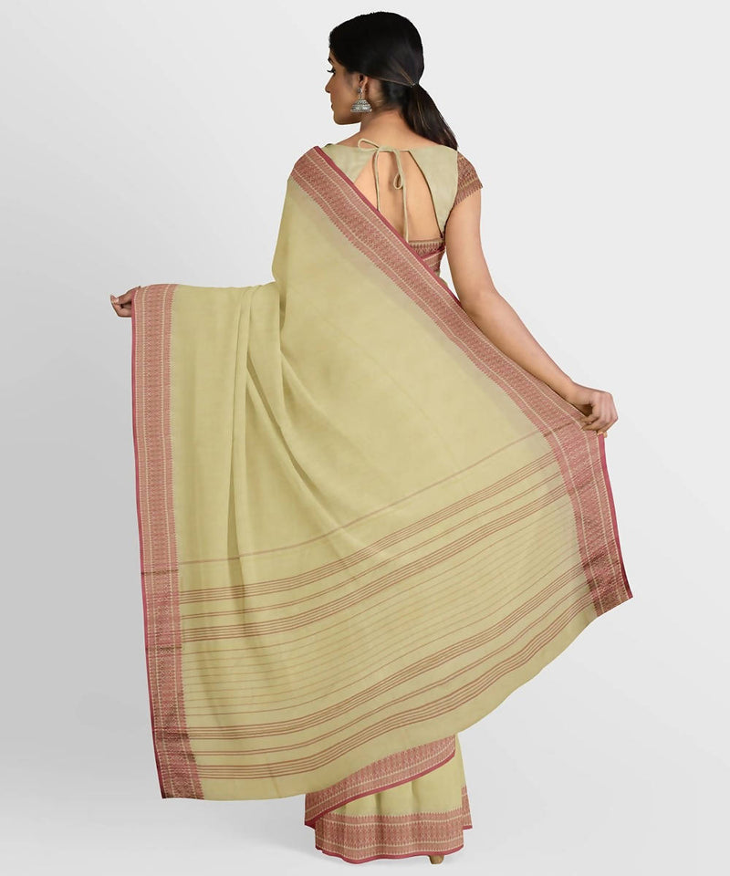Biswa bangla handwoven beige santipuri silk saree