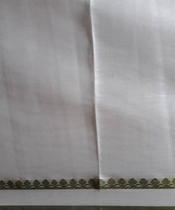 white handloom olive green butta work cotton saree