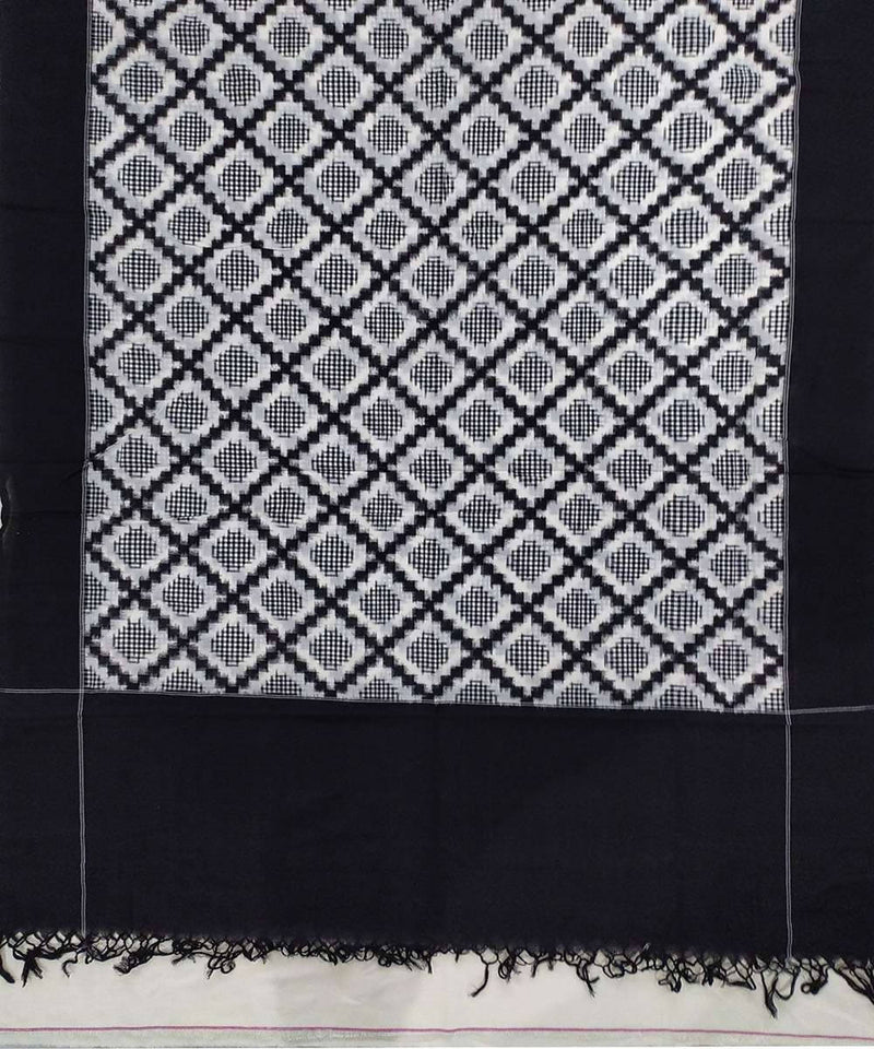 Black and white checkered Cotton Handwoven Dupatta