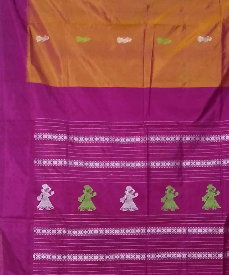 orange magenta handwoven gollabama silk saree