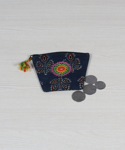 Navy Floral Lambani Embroidery Coin Pouch