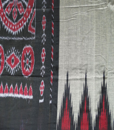 Traditional Ass Gray And Black Ikat tie And dye Kargil Cotton saree