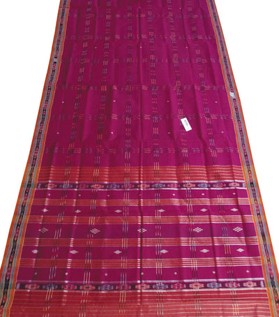 Traditional Purple And Brick Berhampuri ikat tie And dye cotton saree