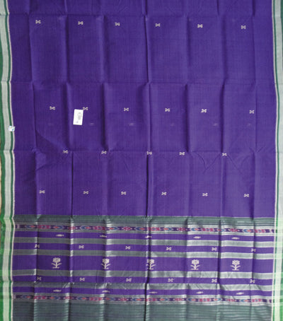 Traditional Violet And Green Berhampuri ikat tie And dye cotton saree