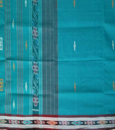 Traditional Bondi Blue And Brown Berhampuri ikat tie And dye cotton saree