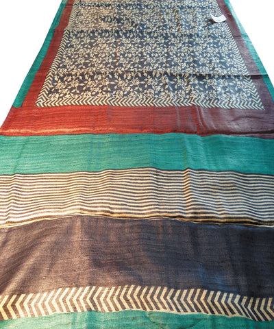 Dark Blue Tussar Saree