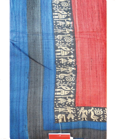 Maroon and Blue Patli  Tussar Saree