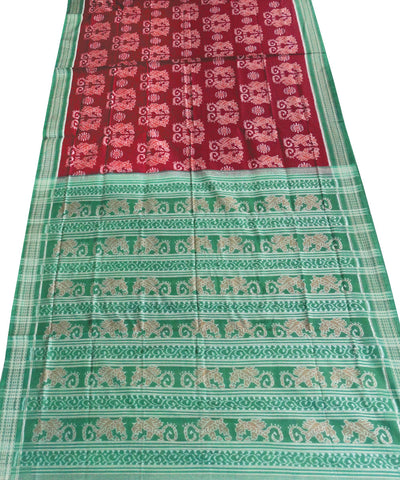 Exclusive Maroon And Green Traditional Ikat Cotton Saree
