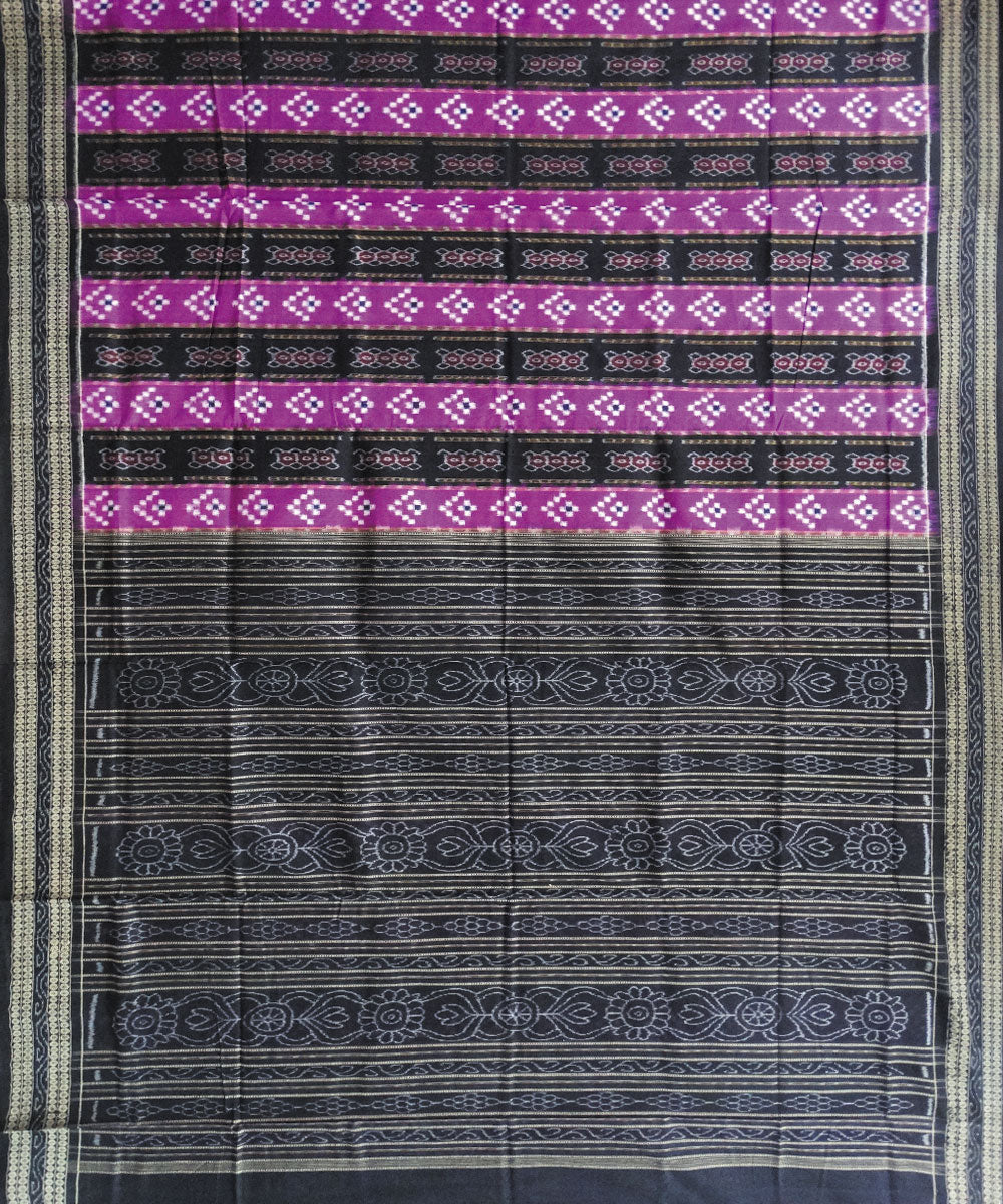 Black Byzantine Pasapalli Ikat Cotton Saree