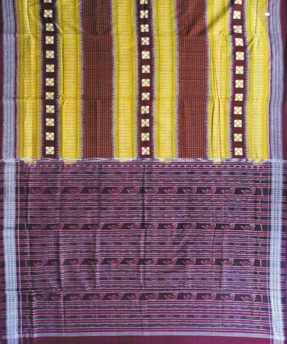 Sambalpuri Yellow Maroon Ikat Cotton Saree