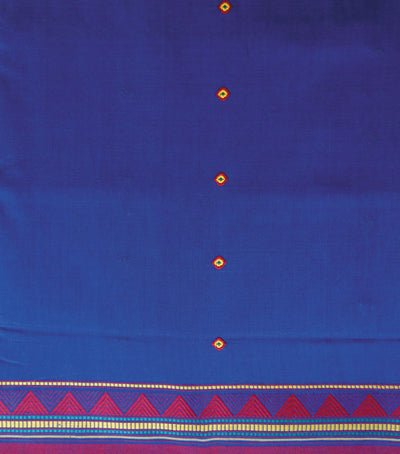 Exclusive Air Force Blue And Red Dangaria Traditional Cotton Saree
