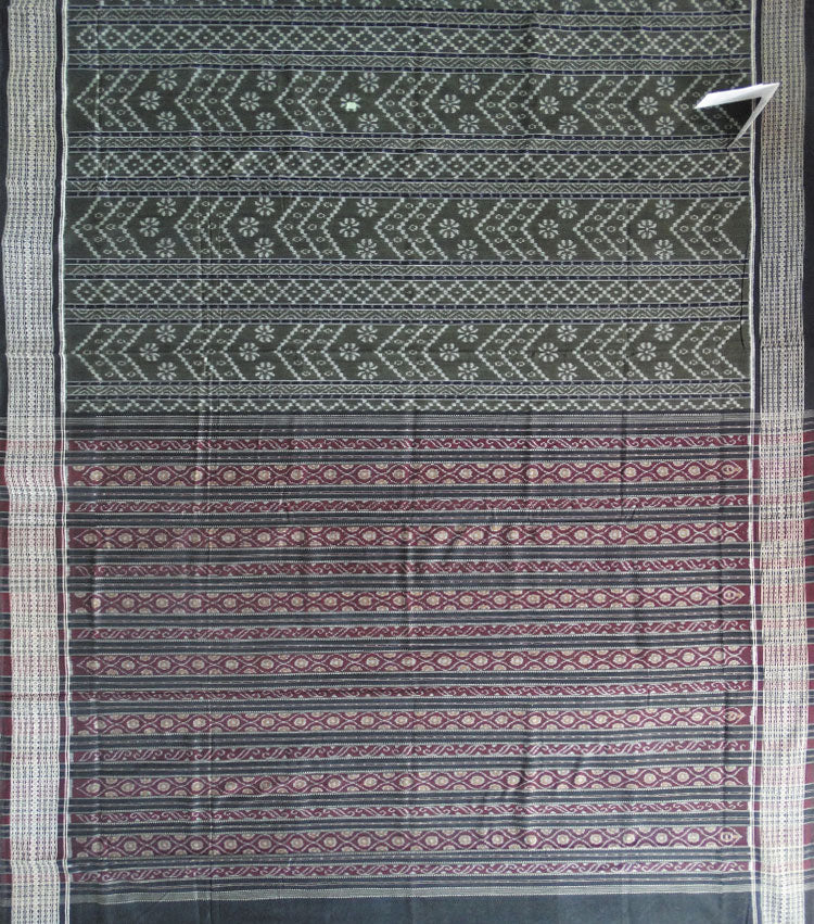 Army Green Black Sambalpuri Ikat Cotton Saree
