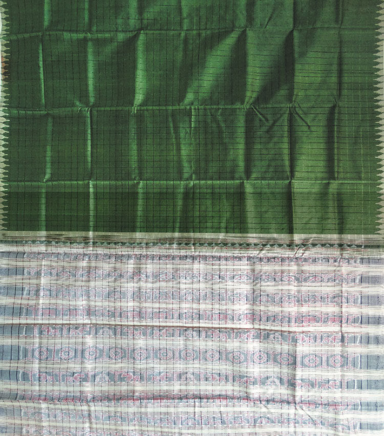 Avocado Off White Tussar Silk Handloom Saree