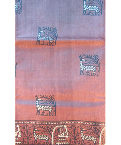 Chocolate Color Tussar Saree